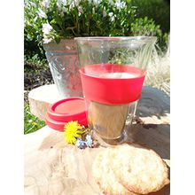 Tee & Kaffee Glas to go (Rot) | schlichtes und federleichtes Glas für Kaffee, Tee & Säfte | happy-to-go | mit Griffhalter und Deckel aus Silikon | Bpa frei | isoliert heiße & kalte Getränke, durch doppelwandiges Borosilikatglas | 300 ml
