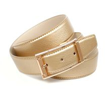 Anthoni Crown 3,4 cm goldfarbener Ledergürtel Ledergürtel gold Damen