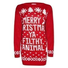 "Men Women sweaters novelty Christmas sweater ""Merry Christmas Ya Filthy Animal"" Retro#(Red Merry Christmas Jumper#S/M#Unisex)"