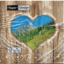 20 Lunch Servietten - Alpine Country - Alpen / Berge / Wiese / Herz