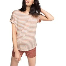 ESPRIT Damen T-Shirt Gestreift, Gr. 42 (Herstellergröße: XL), Mehrfarbig (Salmon 860)