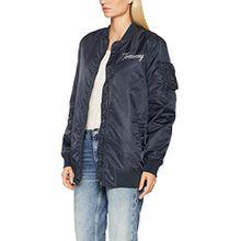 Tommy Jeans Hilfiger Denim Damen Jacke Thdw Nylon Bomber 39, Blau (Total Eclipse 422), 8 (Herstellergröße: Small)