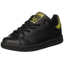 adidas Unisex-Kinder Stan Smith J BB0208 Sneaker Low Hals, Schwarz (Core Black/Core Black/Gold Metallic), 36 2/3 EU
