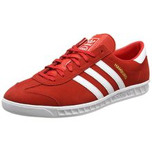 adidas Unisex-Erwachsene Hamburg Sneakers, Rot (Red/Footwear White/Gold Metallic), 41 1/3 EU