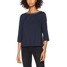 VERO MODA Damen Bluse Vmjune Bead 3/4 Top Boo, Blau (Navy Blazer Navy Blazer), 36 (Herstellergröße: S)