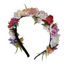 Trachten Blumenkranz Haarreif Blumen Haare Haarband Haarschmuck Hochzeit Oktoberfest - Rosa Rot Pink Creme