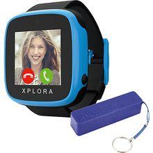 XPLORA GO Smartwatch Kids black inkl. XLayer Powerbank Colour Line Blue 2600 mAh