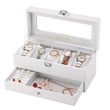 LANGRIA Doppelte Uhren und Brillen 5Aufbewahrungsbox mit deckel abschließbar Uhrenbox Uhrenkoffer Uhrenkasten, weiß