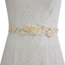 TOPQUEEN Strass und Perle Gürtel für Hochzeit Schärpe Blumenmädchen Schärpe Besondere Anlässe Kleider sein Schärpe für Brautkleid (Elfenbein)