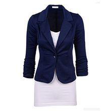 iShine Blazer Damen elegant Jacket Casual Business Blazer damen Slim Fit Mantel Cover Cardigan Outwear (M, Dunkeblau-2)