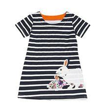 JERFER Mädchen Cartoon Vogel Druck Stickerei Streifen Kleid T-Shirt Top Bluse Kurzarm-Shirt 2- 6Jahre (Schwarz, 6T)