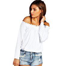 Minetome Damen Sexy Schulterfrei Boot-Ausschnitt Langarmshirt Bluse Clubwear Party T-Shirt ( Weiß EU XS )