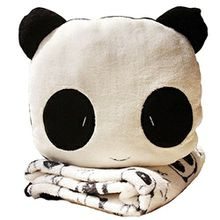 LATH.PIN Lucky Panda Kissen Plüsch Panda Decken Babydecke Kuschelig Kuscheldecke Plüschtier Deko (Panda, One Size)