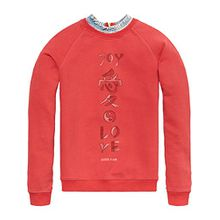 Scotch & Soda R´Belle Mädchen Sweatshirt Soft Sweat mit Denim Collar, Rot (Japan Sun 1748), 116