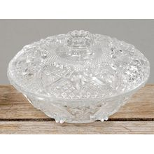 Glasschale mit Glasdeckel- Glasschüssel- Bonboniere Vorratsdose KonfektSchale Aufbewahrung von Leckereien, schoene Ausfuehrung