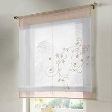Souarts Sandbraun Stickblume Gardine Raffgardinen Vorhang Raffrollo Schlaufenschal Deko für Wohnzimmer Schlafzimmer Studierzimmer 100cmx140cm