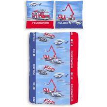 Kinderbettwäsche Polizei & Feuerwehr, Biber, 135 x 200 cm blau