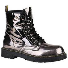 Coole Worker Boots Kinder Outdoor Stiefeletten Profil Sohle Schuhe 150315 Grau Metallic Glänzend 38 Flandell