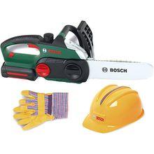 Bosch Kettensäge mit Helm und Handschuhen