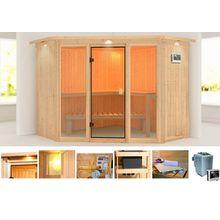 KARIBU Sauna »Flora 2«, 245x245x202 cm, 9 kW Bio-Ofen mit ext. Steuerung, Dachkranz