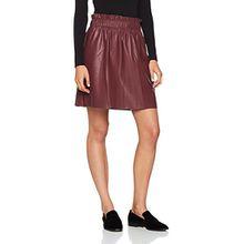 ONLY Damen Rock Onltinka Short PU Skirt Wvn, Rot (Vineyard Wine), 40