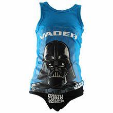 Star Wars - Jungen Unterwäsche Set mit Hemd und Slip in 2 Farben und 3 Größen, Farbe:blau/schwarz;Größe:98/104