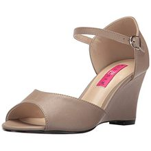 Pleaser Pink Label Damen Kimberly-05 Offene Sandalen mit Keilabsatz, Beige (Taupe Faux Leather Tppu), 44 EU