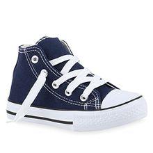 Kinder Sneakers Turn Denim Sneaker High Stoff Schnürer Schuhe 140076 Dunkelblau 28 Flandell