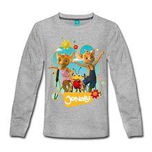 Spreadshirt JoNaLu Jo Naya Und Lu Tanzen Auf Der Wiese Kinder Premium Langarmshirt, 110/116 (4 Jahre), Grau meliert