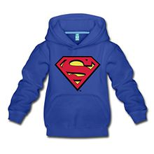 Spreadshirt DC Comics Superman Logo Original Kinder Premium Hoodie, 98/104 (3-4 Jahre), Royalblau