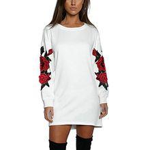 ISASSY Damen Langarmshirt Elegant Mini Kleid langärmelig Shirt mit Stickerei Rundhalsausschnitt
