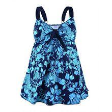 Rocorose Damen Zweiteiliger Badeanzug Große Größen Blaue Blume 50
