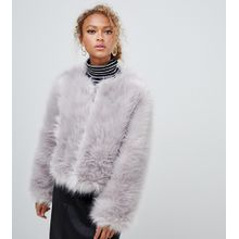 New Look - Kragenlose Jacke aus flauschigem Kunstpelz - Grau