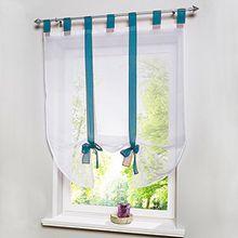 Souarts Blau Transparent Gardine Vorhang Raffgardinen Raffrollo Schlaufenschal Deko für Wohnzimmer Schlafzimmer Studierzimmer 60cmx140cm