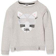 Karl Lagerfeld Mädchen Sweatshirt Sweat, Grau (Grau Meliert), 12 Jahre