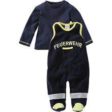 Schnizler Unisex Baby Strampler Set Nicki, Feuerwehr, 2 - tlg. mit Langarmshirt, Oeko - Tex Standard 100, Gr. 56, Blau (marine 11)