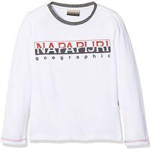 Napapijri Jungen T-Shirt K Sabin, Weiß (Bright White 002), 128 (Herstellergröße: 08)