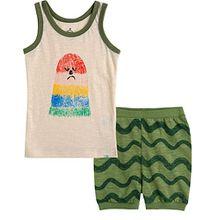 Vaenait Baby 74-110 Säuglings Kinder Jungen 2pcs Bekleidungssets Schlafanzüge Green Wave L