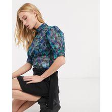 Weekday – Organza-Bluse mit Puffärmeln und buntfarbigem Blumenmuster-Mehrfarbig