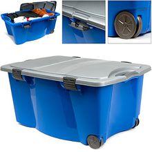 Aufbewahrungsbox mit Rollen 80 x 52 x 41cm Universalbox Spielzeugbox Rollbox Box | verschließbarer Deckel | 2 Griffen | blau/silber
