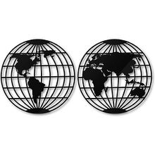 Acryldeko Weltkarte - Globus (2-teilig) schwarz