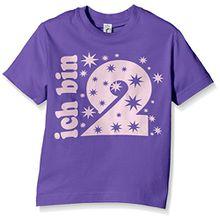 Coole-Fun-T-Shirts Mädchen T-Shirt Ich Bin 2 Jahre!, Gr. One Size (Herstellergröße: 104cm/1-2 Jahre), Violett (Lila-Pink)