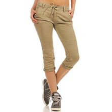 Fresh Made Damen Capri Jogg Jeans Shorts Boyfriend LFM-119/136 destroyed middle beige S