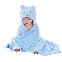 Babyhandtuch mit Kapuze Junge - Feelme Baby Badehandtuch Mikrofaser Kinder Kapuzenhandtuch Tier Poncho Frottee Fleece (Einheitsgröße, Blau Bär)