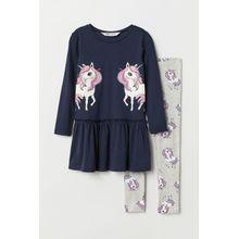 H & M - Kleid und Leggings - Blue - Kinder
