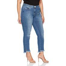 SAMOON Damen Slim Hose Jeans Lang, Blau (Mid Blue Denim 804609), 54