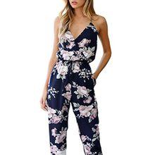 Internet Damen Jumpsuit Sommer Aus Schulter Blumen Mini Spielanzug Casual Jumpsuit (L, Blau)