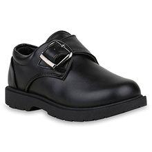 Kinder Halbschuhe Monks Leder-Optik Schuhe Schnallen Profil Sohle 153298 Schwarz 29 Flandell