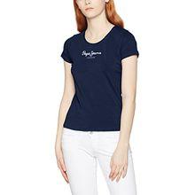 Pepe Jeans Damen T-Shirt New Virginia, Blau (Navy), Large