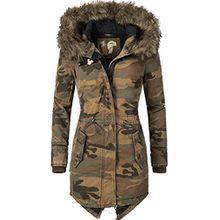 Khujo Damen Mantel Wintermantel Winterparka YM-Dorota Camouflage Gr. XS